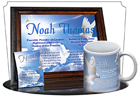 MU-AN13, Coffee Mug with Name Meaning and  Bible Verse noah dove peace