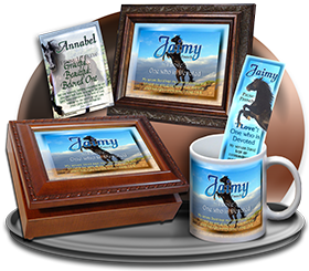 MU-AN29, Music Box with personalized name meaning & Bible verse,  Jaimy black horse beauty stallion