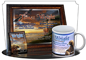 MU-AN32, Coffee Mug with Name Meaning and  Bible Verse wright golden eagle preditor hawk bird