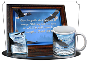 MU-AN38, Coffee Mug with Name Meaning and  Bible Verse gunner bald eagle bird