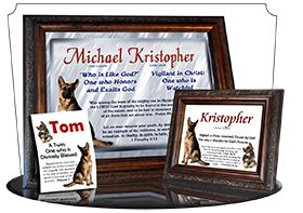 8x10-AN39, personalized 10x12 name meaning print, framed with  name meaning & Bible verse,  Kristopher Christopher Chris Kris german shepherd dog