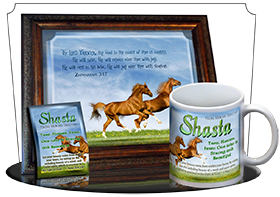 MU-AN42, Music Box with personalized name meaning & Bible verse,  Playful Horses happy joyful shasta brown