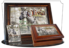 MU-AN45, Music Box with personalized name meaning & Bible verse,  mom mother child horses white olivia