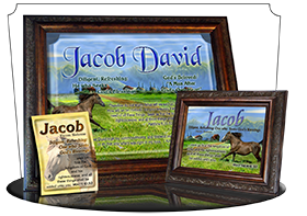 MU-AN48, Music Box with personalized name meaning & Bible verse,  jacob brown horse houses
