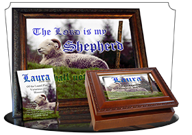 MU-AN62, Music Box with personalized name meaning & Bible verse,  sheep ram shepherd flock lamb staff laura