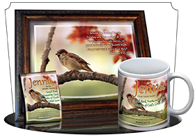PL-AN63, Name Meaning Print,  Framed, Bible Verse jenna bird birds sparrow
