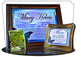 8x10-BF02, personalized 10x12 name meaning print, framed with  name meaning & Bible verse,  butterfly blue mary  Butterflies of blue dance on a tapestry of sapphire while they waltz gracefully amidst your name and its meaning.