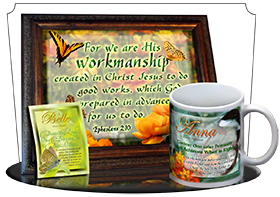 MU-BF13, Coffee Mug with Name Meaning and  Bible Verse butterfly  green garden anna