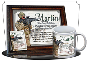 PL-PP22, Name Meaning Print,  Framed, Bible Verse, personalized, bravery soldier army navy war martin