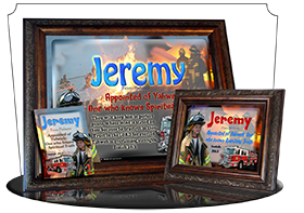 PL-PP24, Name Meaning Print,  Framed, Bible Verse, personalized, bravery courage fireman firefighter fire child jeremy