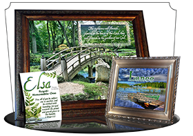 SG-PL-SC08, Custom Scripture Plaque,  Framed, Bible Verse, personalized, garden bridge, Psalm 92:12a-13