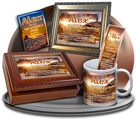 MU-SC21, Coffee Mug with Name Meaning and  Bible Verse, personalized, western alex, sunset