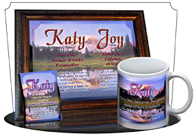 PL-SC28, Name Meaning Print,  Framed, Bible Verse, personalized, katy mountain lake pink, scenery