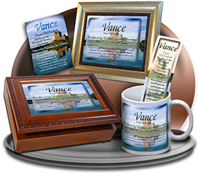 MU-SC34, Coffee Mug with Name Meaning and  Bible Verse, personalized, vance castle lake moat
