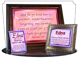 PL-SM06, Name Meaning Print,  Framed, Bible Verse, personalized, baby name purple pink edna simple basic