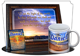 PL-SS14, Name Meaning Print,  Framed, Bible Verse, personalized, daniel, sunset, beach, ocean, sand