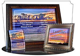 PL-SS22, Name Meaning Print,  Framed, Bible Verse, personalized, janelle sunset