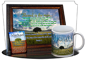 PL-TR13, Name Meaning Print,  Framed, Bible Verse, personalized, lone tree integrity, michael