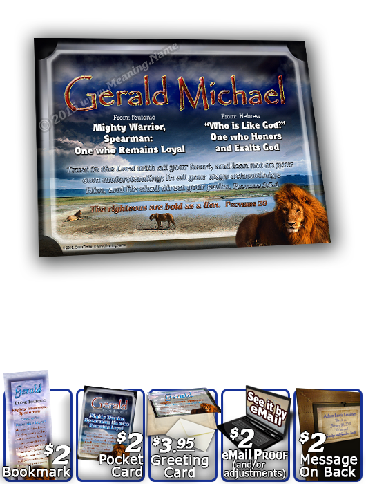 8x10-AN07, personalized 10x12 name meaning print, framed with the name Gerald Michale, the meaning & Bible verse,  gerald lion, bravery courage  This pride of lions is diligent in seeking out what they need, together. And now relax beside this cool pool o