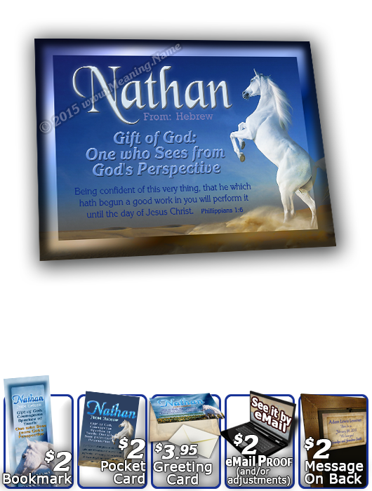 8x10-AN26, personalized 10x12 name meaning print, framed with  name meaning & Bible verse,  Nathan white horse   Midnight blue hues are interrupted by the prancing hooves of a stark white mare calling to her heard that roam the canyon floor below.