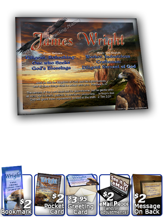 8x10-AN32, personalized 10x12 name meaning print, framed with  name meaning & Bible verse,  wright golden eagle preditor hawk bird  This is a variation of the design of AN24, except for the beautiful change of a stormy blue sky encompassing this golden-wi