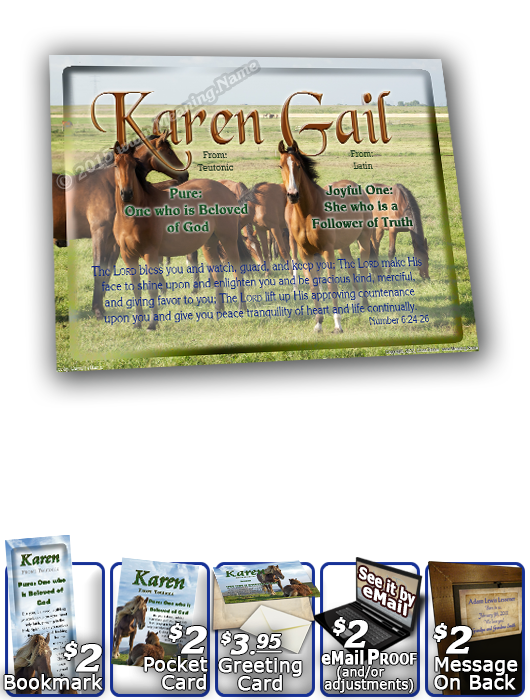 8x10-AN44, personalized 10x12 name meaning print, framed with  name meaning & Bible verse,  karen horses mother mom child  Your name has caught the attention of this curious horse, as he pulls away slightly from the rest of his heard to investigate what t