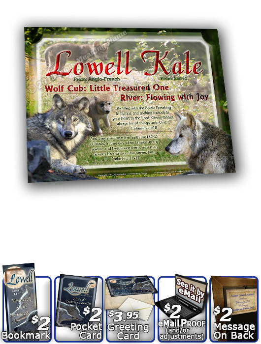 8x10-AN54, personalized 10x12 name meaning print, framed with  name meaning & Bible verse,  lowell wolf cub wolves moon night dark