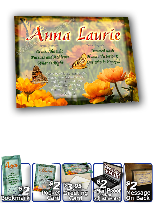 8x10-BF13, personalized 10x12 name meaning print, framed with  name meaning & Bible verse,  butterfly  green garden Anna