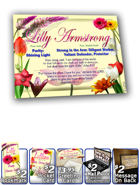 8x10-FL18, personalized 10x12 name meaning print, framed with  name meaning & Bible verse, , personalized, flower,  lillian flower floral garden  This floral wideplaque design is bursting with color!  You can almost smell the blend of fragrances that arti