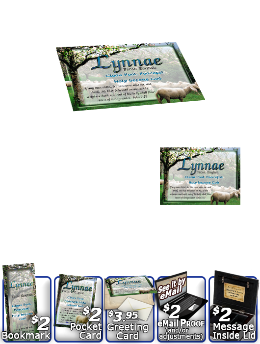 MU-AN01, Music Box with personalized name meaning & Bible verse,  sheep flock lambs shepherd lynnae