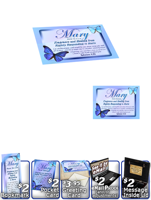 MU-BF02, Music Box with personalized name meaning & Bible verse,  butterfly blue mary