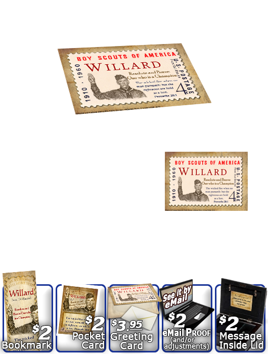 MU-CA02, Music Box with personalized name meaning & Bible verse,  willard  boy scouts stamp collecting