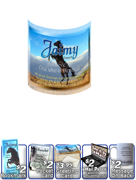 MU-AN29, Coffee Mug with Name Meaning and  Bible Verse Jaimy black horse beauty stallion
