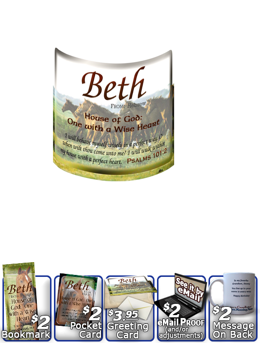 MU-AN31, Coffee Mug with Name Meaning and  Bible Verse beth horses