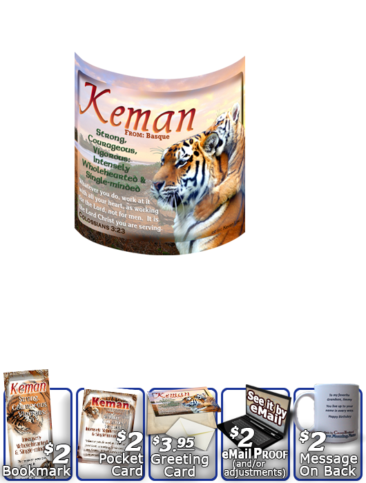 MU-AN40, Coffee Mug with Name Meaning and  Bible Verse tiger keman tigress powerful