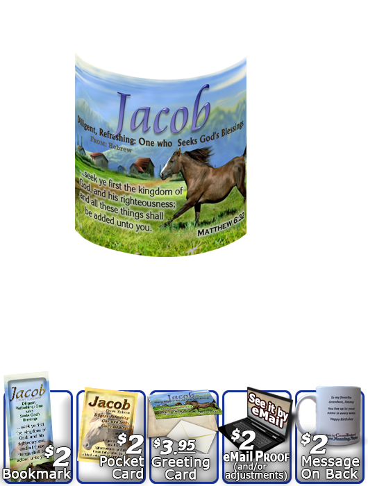 MU-AN48, Coffee Mug with Name Meaning and  Bible Verse jacob brown horse houses