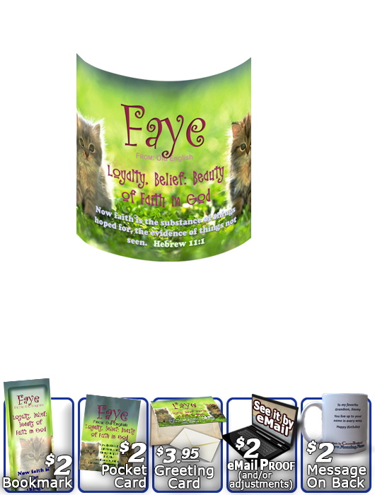 MU-AN51, Coffee Mug with Name Meaning and  Bible Verse faye cute fuzzy kittens cats