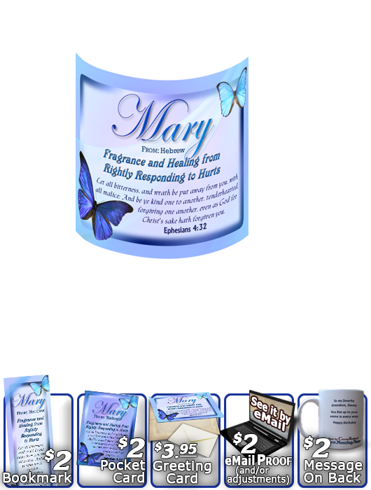 MU-BF02, Coffee Mug with Name Meaning and  Bible Verse butterfly blue mary