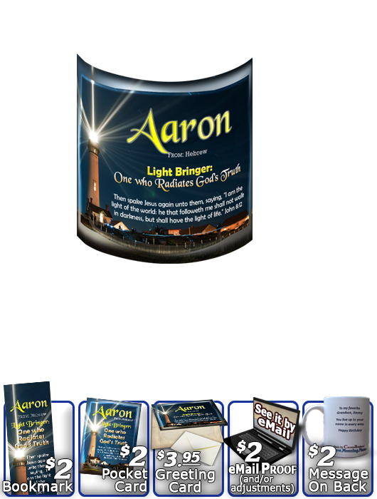 MU-LH16, Coffee Mug with Name Meaning and  Bible Verse, personalized, lighthouse light shine aaron