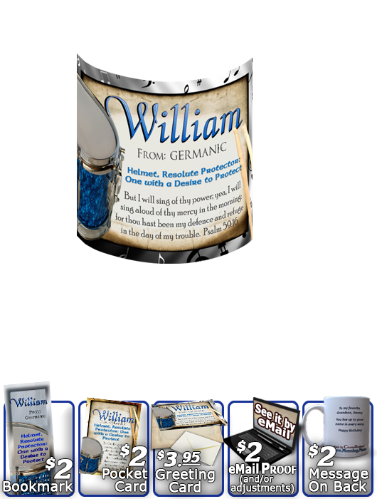 MU-MU02, Coffee Mug with Name Meaning and  Bible Verse, personalized, music notes william drums