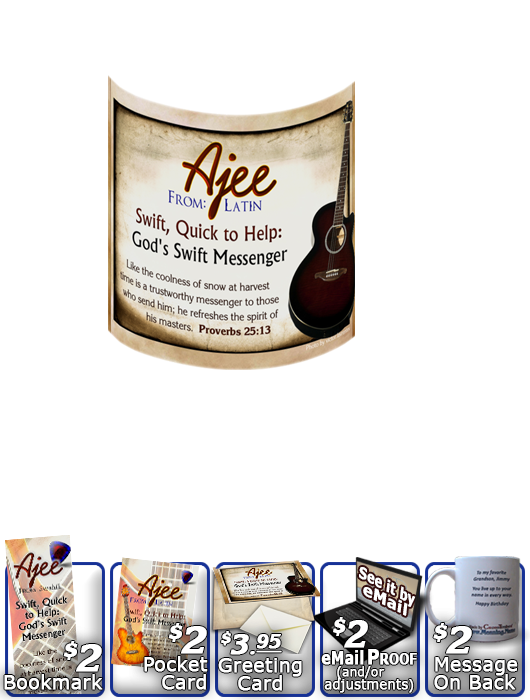 MU-MU19, Coffee Mug with Name Meaning and  Bible Verse, personalized, music notes ajee guitar acoustic