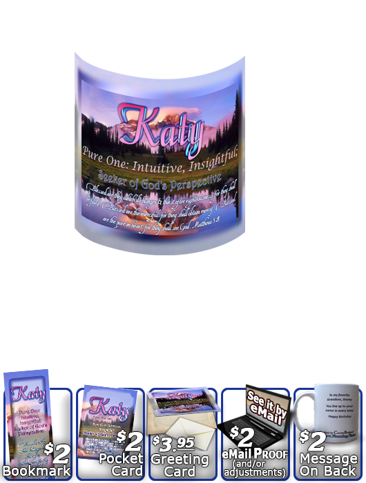 MU-SC28, Coffee Mug with Name Meaning and  Bible Verse, personalized, katy mountain lake pink, scenery