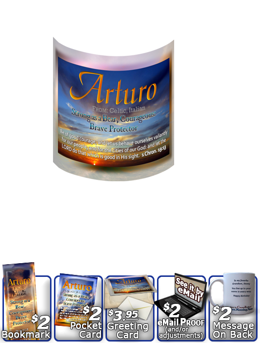 MU-SS07, Coffee Mug with Name Meaning and  Bible Verse, personalized, arturo sunset sky