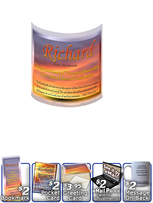 MU-SS18, Coffee Mug with Name Meaning and  Bible Verse, personalized, richard, sunset, simple