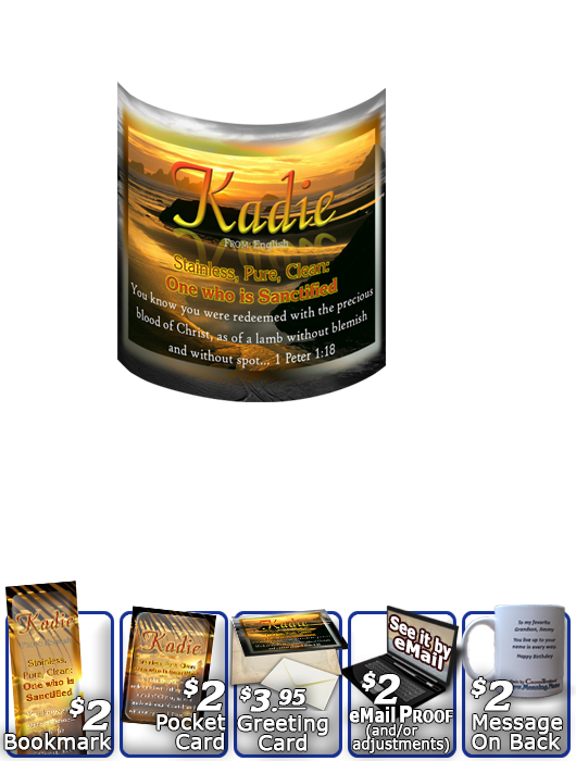 MU-SS20, Coffee Mug with Name Meaning and  Bible Verse, personalized, kadie ocean water, sunset