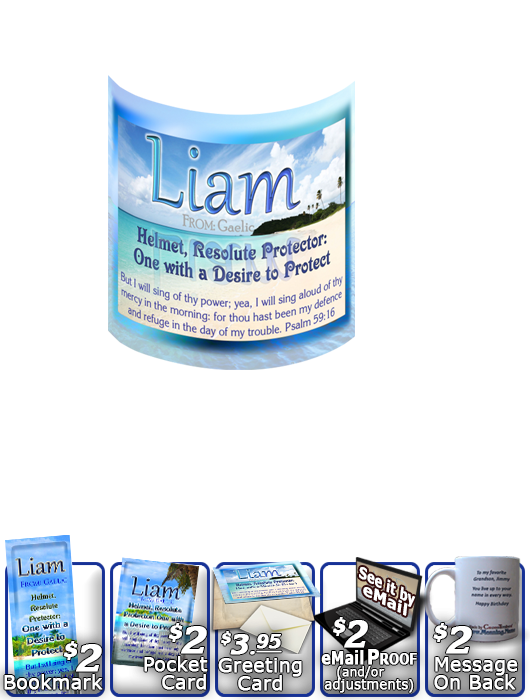 MU-WA06, Coffee Mug with Name Meaning and  Bible Verse, personalized, liam ocean beach vacation palm trees sand
