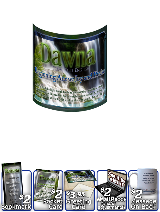 MU-WA14, Coffee Mug with Name Meaning and  Bible Verse, personalized, still waters peaceful waterfall dawna