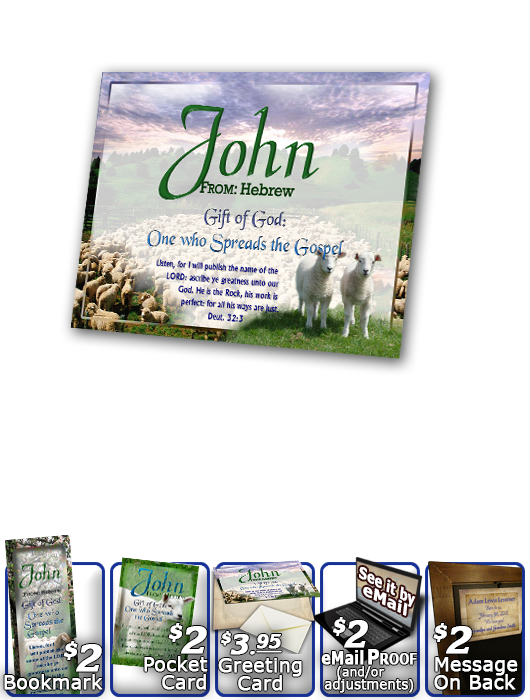 PL-AN02, Name Meaning Print,  Framed, Bible Verse sheep flock lambs shepherd john