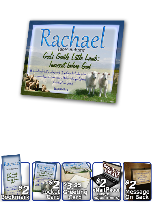 PL-AN04, Name Meaning Print,  Framed, Bible Verse Rachel Rachael sheep lambs flock shepherd