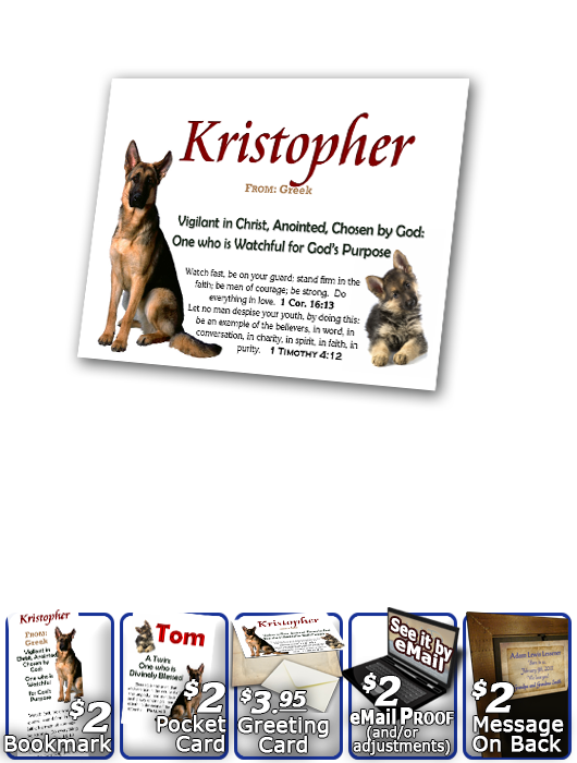 PL-AN39, Name Meaning Print,  Framed, Bible Verse Kristopher Christopher Chris Kris german shepherd dog
